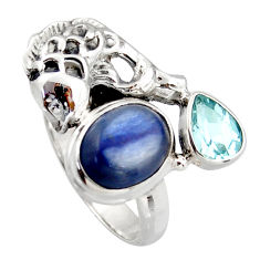 5.42cts natural blue kyanite topaz 925 sterling silver fish ring size 6 d46054