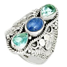 4.48cts natural blue kyanite topaz 925 sterling silver ring size 7.5 r19162