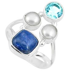 5.79cts natural blue kyanite topaz pearl 925 sterling silver ring size 7 r57603