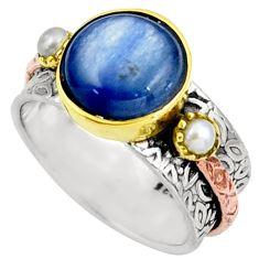 6.52cts natural blue kyanite white pearl 925 silver 14k gold ring size 7 d39111