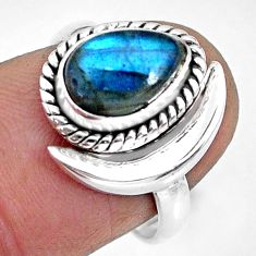 2.53cts natural blue labradorite 925 silver adjustable moon ring size 7 r89634