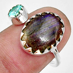 6.27cts natural blue labradorite 925 silver adjustable ring size 7.5 r33362