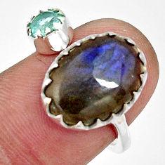 6.85cts natural blue labradorite 925 silver adjustable ring size 7.5 r33365