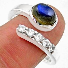 3.91cts natural blue labradorite 925 silver adjustable ring size 8.5 r54577