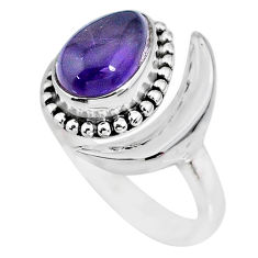 2.86cts natural blue labradorite 925 silver moon ring size 9.5 r89668