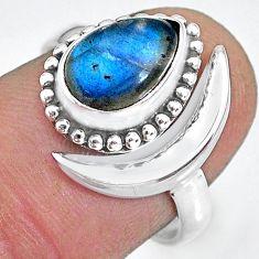 2.56cts natural blue labradorite 925 silver adjustable moon ring size 7.5 r89678