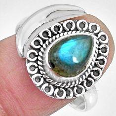 2.93cts natural blue labradorite 925 silver adjustable moon ring size 9.5 r89717