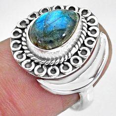 2.83cts natural blue labradorite 925 silver adjustable moon ring size 7.5 r89719