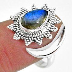 2.92cts natural blue labradorite 925 silver moon ring size 9.5 r89857