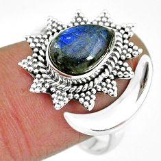4.02gms natural blue labradorite 925 silver moon ring size 9.5 r89860