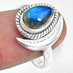 2.72cts natural blue labradorite 925 silver adjustable moon ring size 7 r89657