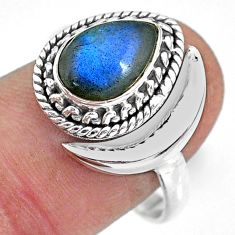 2.67cts natural blue labradorite 925 silver adjustable moon ring size 7 r89760