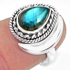 2.88cts natural blue labradorite 925 silver adjustable moon ring size 7 r89778