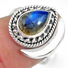 2.67cts natural blue labradorite 925 silver adjustable moon ring size 7 r89780