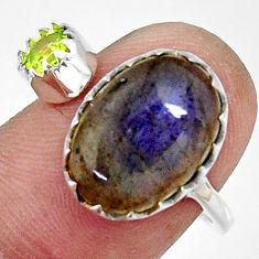 7.24cts natural blue labradorite 925 silver adjustable ring size 8 r33370