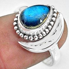 2.58cts natural blue labradorite 925 silver adjustable moon ring size 8 r89680
