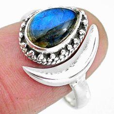 2.64cts natural blue labradorite 925 silver moon ring size 8 r89817