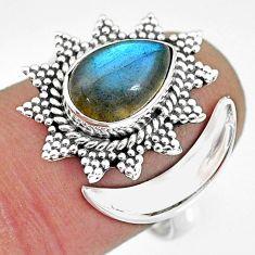 2.79cts natural blue labradorite 925 silver adjustable moon ring size 8 r89838