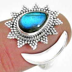 2.85cts natural blue labradorite 925 silver moon ring size 8 r89856