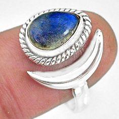 2.53cts natural blue labradorite 925 silver adjustable moon ring size 9 r89660