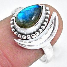 2.70cts natural blue labradorite 925 silver adjustable moon ring size 9 r89679