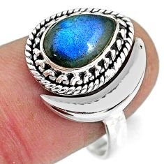 2.83cts natural blue labradorite 925 silver adjustable moon ring size 9 r89759