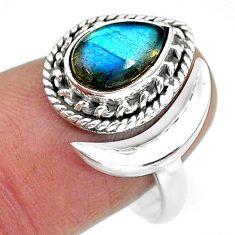 2.93cts natural blue labradorite 925 silver adjustable moon ring size 9 r89779