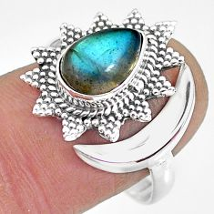 3.09cts natural blue labradorite 925 silver moon ring size 9 r89836