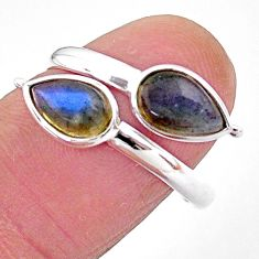 4.45cts natural blue labradorite 925 silver adjustable ring size 9 t1669