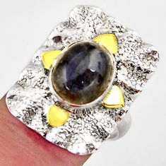 5.75cts natural blue labradorite 925 silver gold solitaire ring size 7.5 d46233
