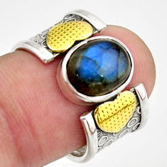 4.38cts natural blue labradorite 925 silver gold solitaire ring size 7.5 d46339