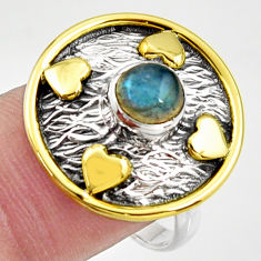 1.22cts natural blue labradorite 925 silver gold solitaire ring size 7.5 r37298