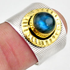 2.62cts natural blue labradorite 925 silver gold solitaire ring size 7 d46337