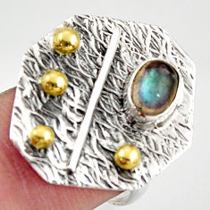 1.51cts natural blue labradorite 925 silver gold solitaire ring size 7 r37335