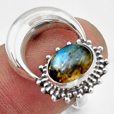 3.29cts natural blue labradorite 925 silver half moon ring jewelry size 7 r41774