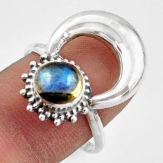 2.44cts natural blue labradorite 925 silver half moon ring jewelry size 9 r41634