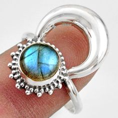 3.11cts natural blue labradorite 925 silver half moon ring jewelry size 9 r41635