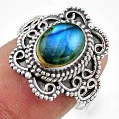 3.01cts natural blue labradorite 925 silver half moon ring size 7.5 r41775