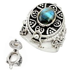 2.87cts natural blue labradorite 925 silver poison box ring size 7.5 r26697