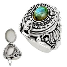 2.09cts natural blue labradorite 925 silver poison box ring size 6.5 r41199