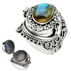 4.42cts natural blue labradorite 925 silver poison box ring size 7 r41196