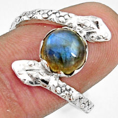 3.13cts natural blue labradorite 925 silver snake solitaire ring size 8.5 r22574