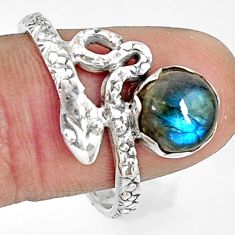 3.02cts natural blue labradorite 925 silver snake solitaire ring size 10 r22570