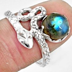 3.26cts natural blue labradorite 925 silver snake solitaire ring size 8 r22567