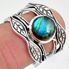 3.17cts natural blue labradorite 925 silver solitaire leaf ring size 7 r36960