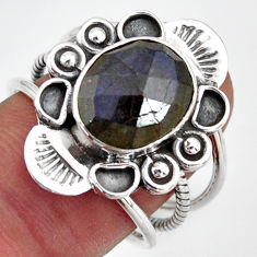 5.30cts natural blue labradorite 925 silver solitaire ring size 8.5 d46498