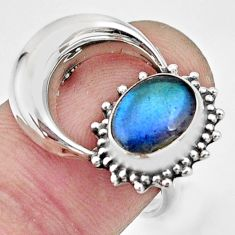 Natural blue labradorite 925 silver solitaire ring half moon size 7 r26756