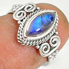 2.22cts natural blue labradorite 925 silver solitaire ring size 5 r78979