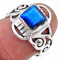 2.71cts natural blue labradorite 925 silver solitaire ring jewelry size 6 r54440