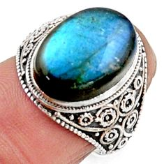 5.87cts natural blue labradorite 925 silver solitaire ring jewelry size 6 r54635
